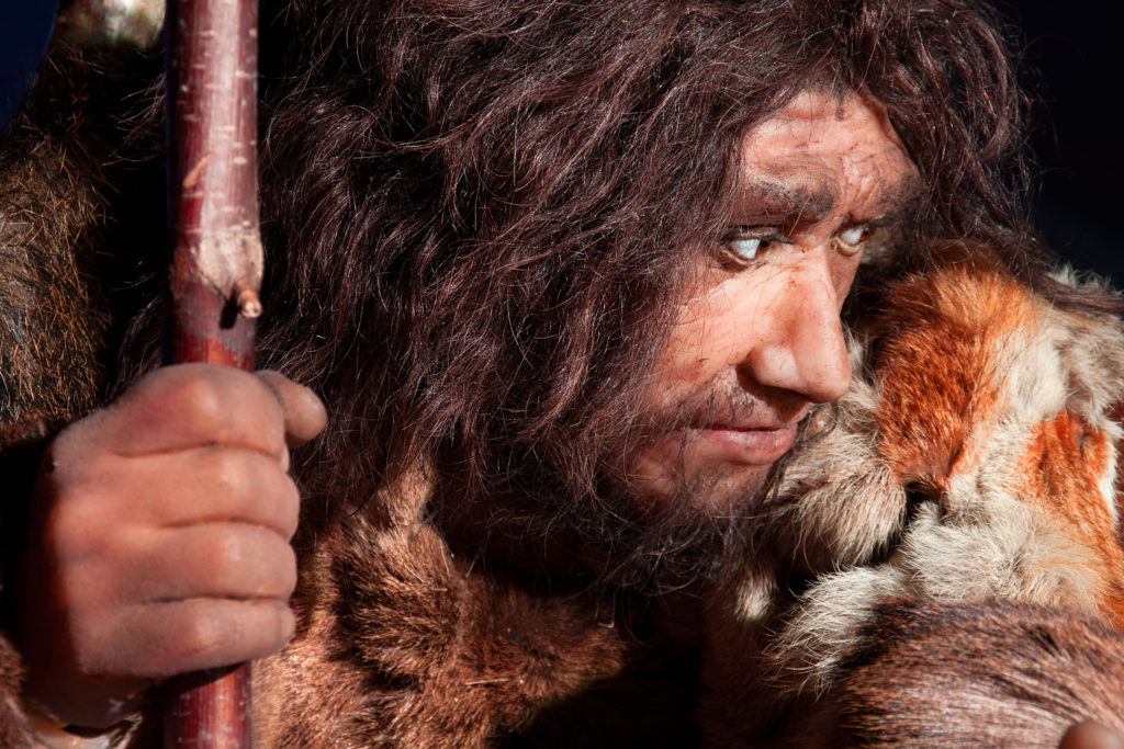 neanderthal man, an ancestor of the human kind, with a great expression