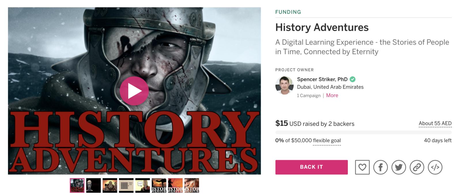 History Adventures Indiegogo